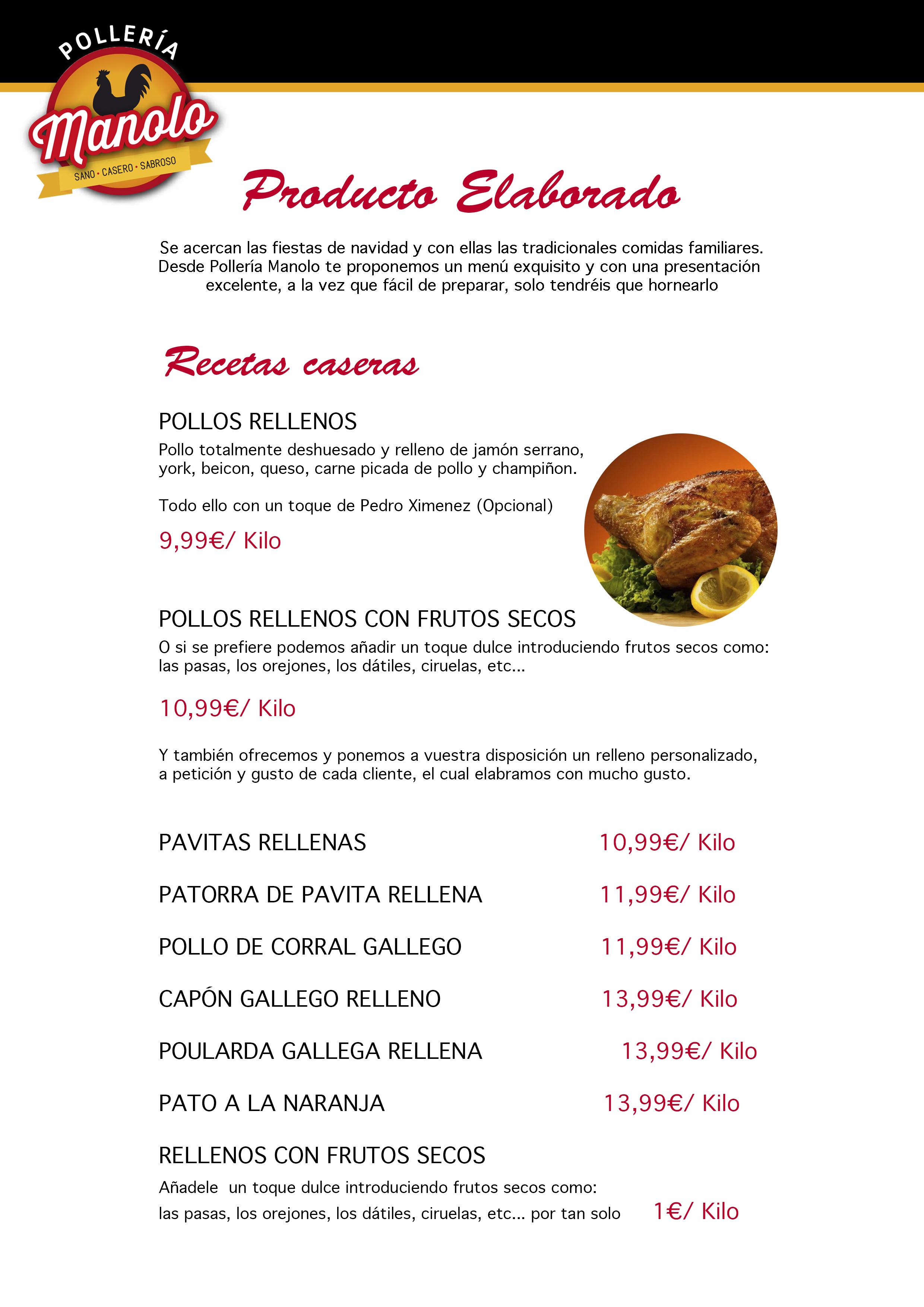 RELLENOS POLLERIA MANOLO